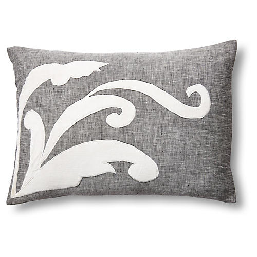 Leaf 14x20 Linen/Velvet Pillow, Gray