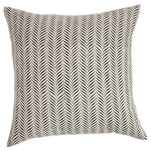 Printed 20x20 Linen Pillow, White