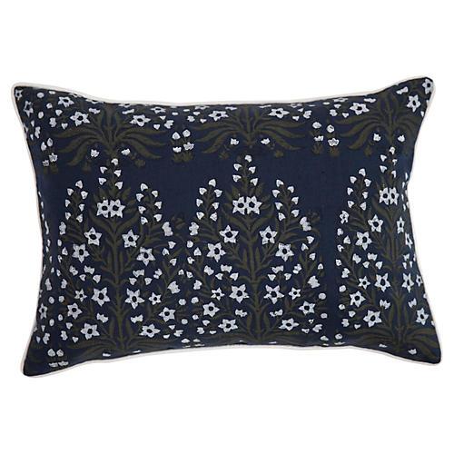 Bloom 14x20 Linen Pillow, Navy