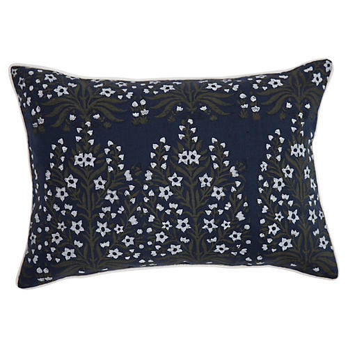 Bloom 14x20 Linen Pillow, Navy