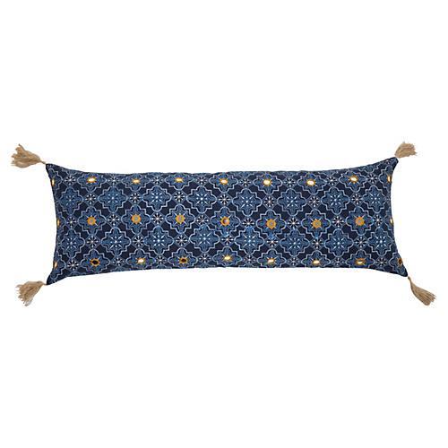 Tassel 14x40 Linen Pillow, Blue