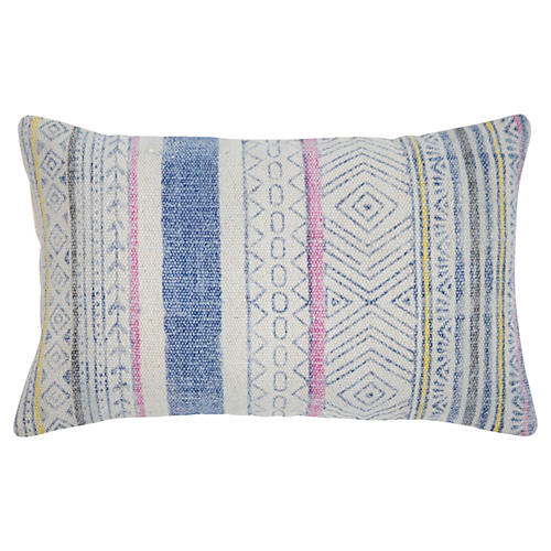 Reed 14x20 Cotton Pillow, Blue