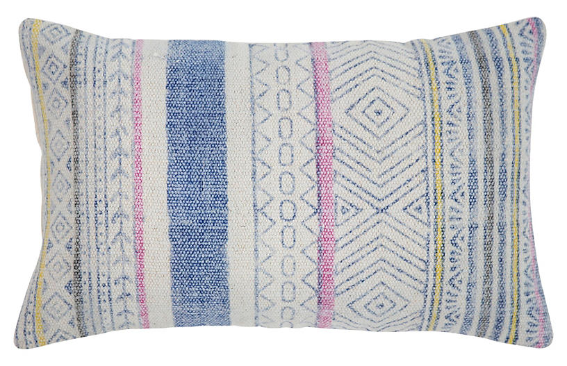 Reed 14x20 Cotton Pillow, Blue