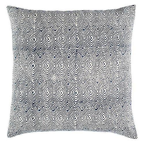 Mathali 20x20 Cotton Pillow, Blue