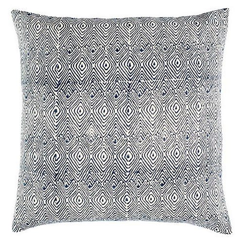 Mathali 20x20 Cotton Pillow, Blue