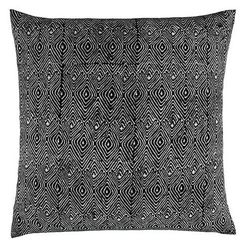 Mathali 20x20 Cotton Pillow, Black