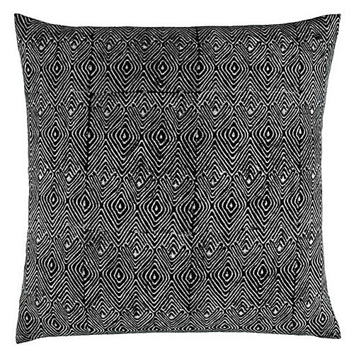Mathali 20x20 Cotton Pillow, Black