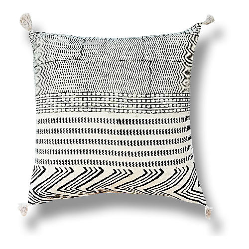 Tribal 22x22 Cotton Pillow, Black