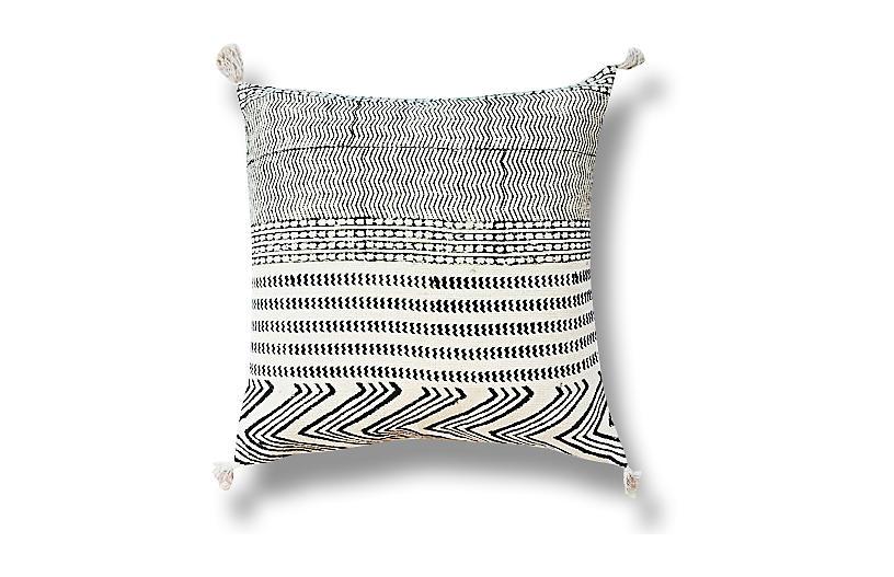 Tribal 22x22 Cotton Pillow, Black