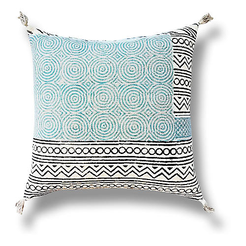 Tribal 22x22 Cotton Pillow, Blue