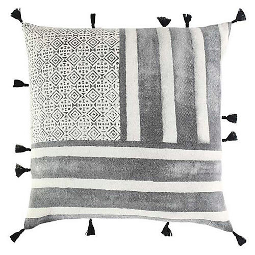 Rani 18x18 Cotton Pillow, Black