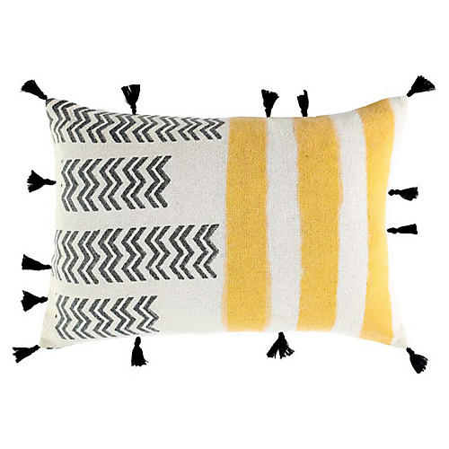 Jamani 14x20 Cotton Pillow, Yellow