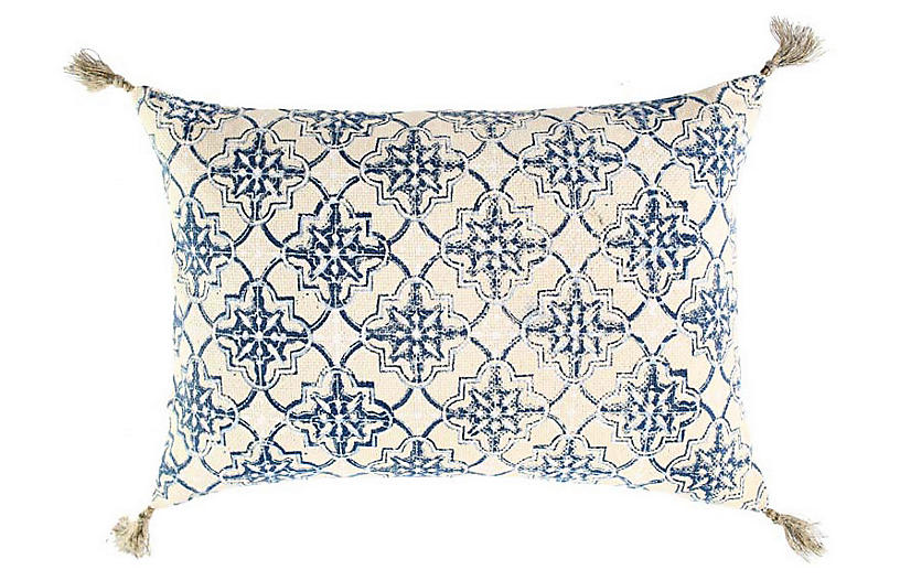 Zali 14x20 Cotton Pillow, Blue