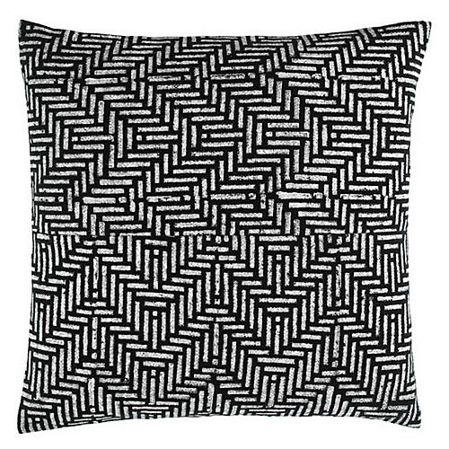 Mani 18x18 Cotton Pillow, Black