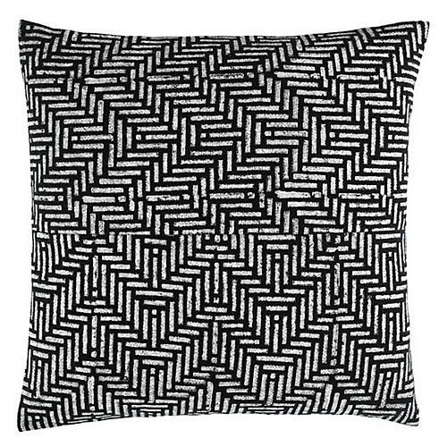 Mani 18x18 Cotton Pillow, Black