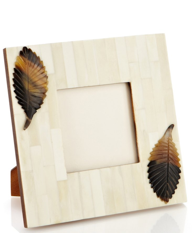 4x4 White Bone Frame w/ Horn Leaf