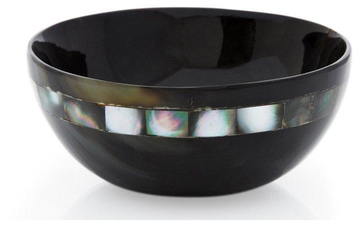"""4"""" Variegated Horn Bowl w/ Black MOP"""