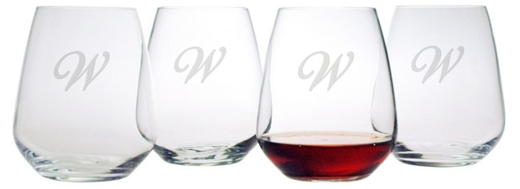 S/8 Script Monogram Stemless Wineglasses