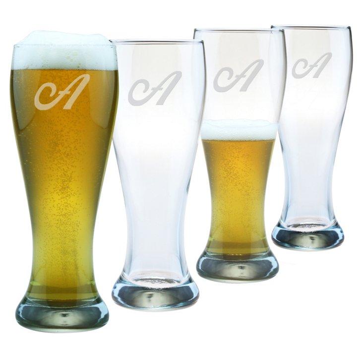 Pilsner Glass, Script Font, Set Of 4