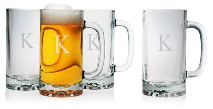 S/4 Block Monogram Beer Mugs