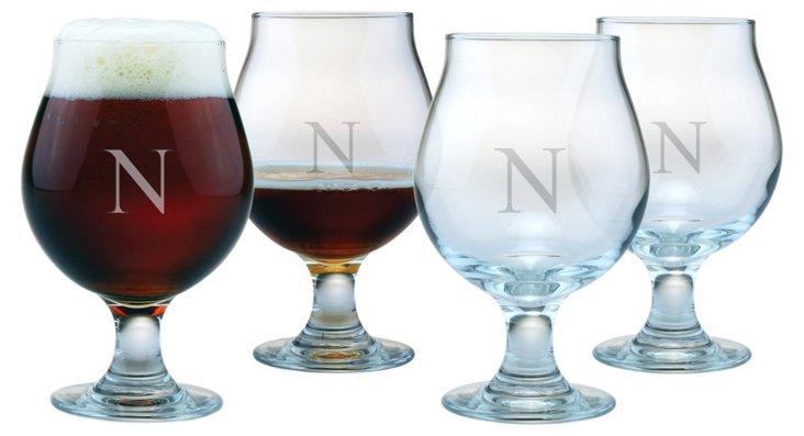 S/4 Monogram Beer Glasses