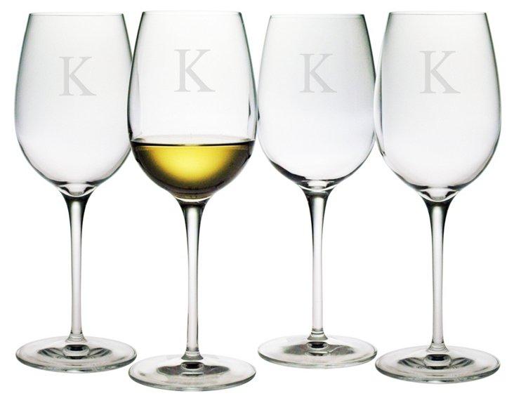 Chardonnay Glass, Block Font, Set Of 4