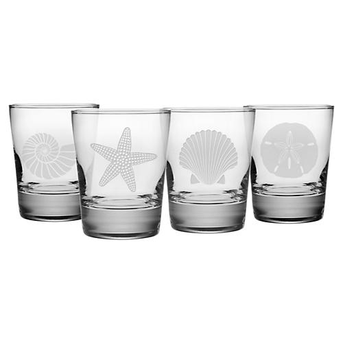 Asst. of 4 Seashore Tumblers, Clear