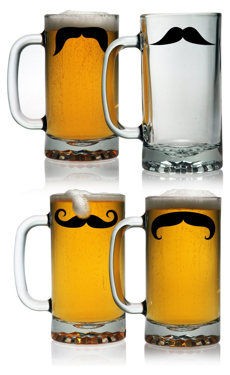 S/4 Moustache Pub Beer Mugs Glasses