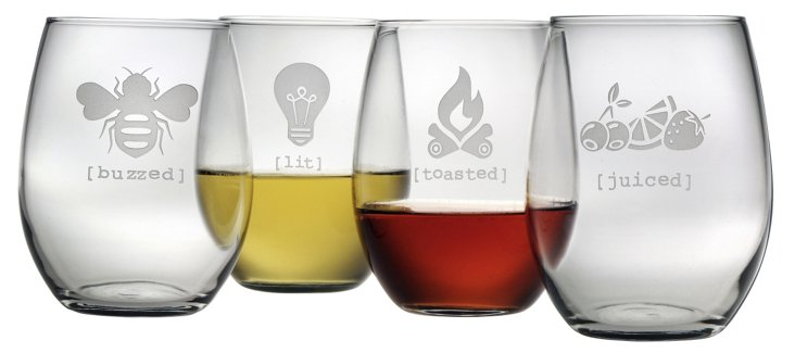 S/4 Tipsy Stemless Wineglasses
