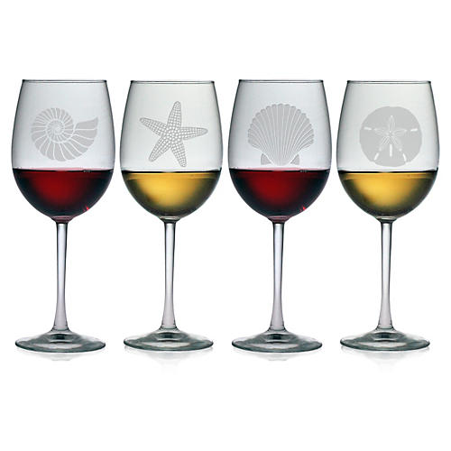 S/4 Seashore Wineglasses