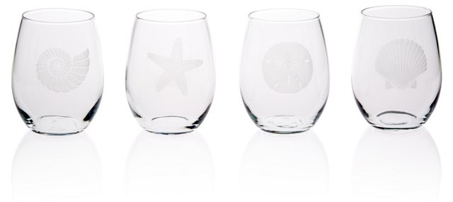 S/4 Seashore Stemless Wineglasses