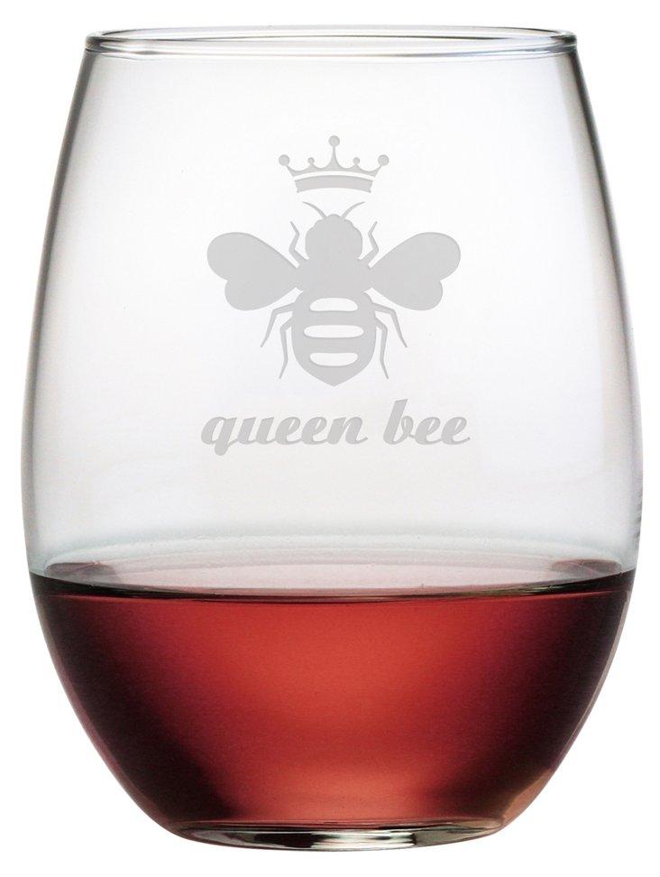 S/4 Queen Bee Stemless Wine Glasses