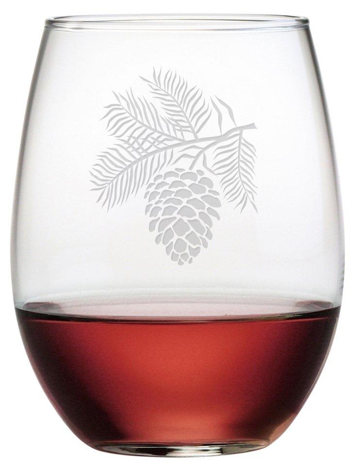 S/4 Pinecone Stemless Wineglasses