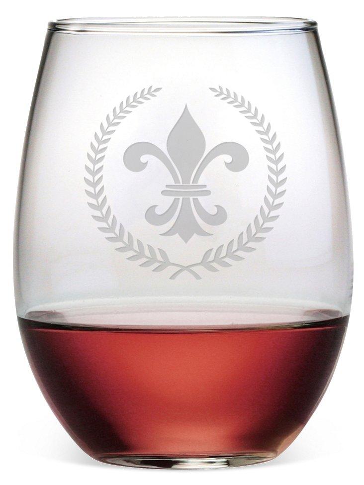 S/4 Fleur-de-Lis Stemless Wineglasses