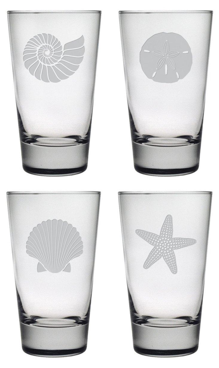 S/4 Seashore Collection Highball Glasses
