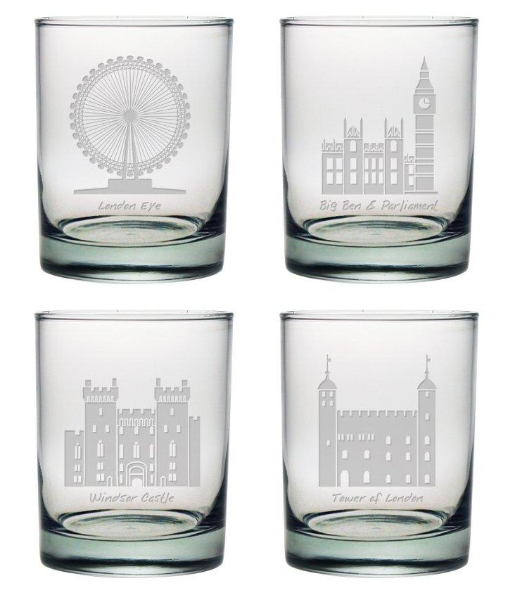 S/4 London Landmarks Rocks Glasses