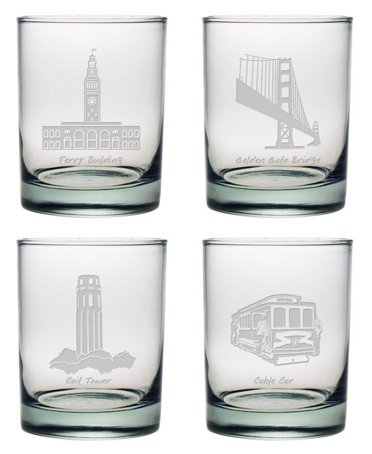 S/4 SF Landmarks Rocks Glasses