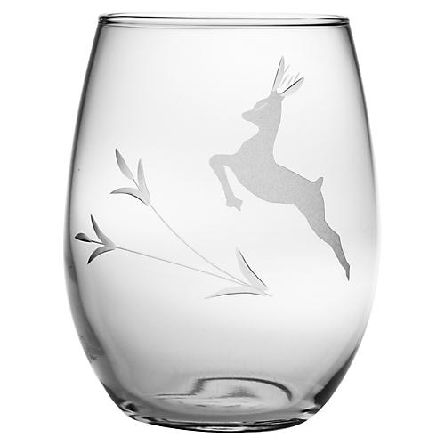Deer, Stemless Wine, 21oz, S/4