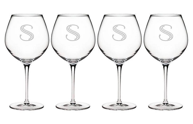 S/4 Hudson Monogram Burgundy Wineglasses, Clear
