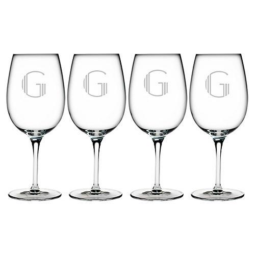 S/4 Hudson Monogram Bordeaux Glasses