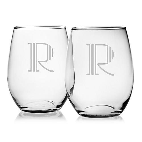 Hudson Monogram Stemless Wine, 21Oz, S/4