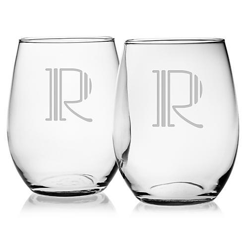 S/4 Hudson Monogram Stemless Wineglasses, Clear