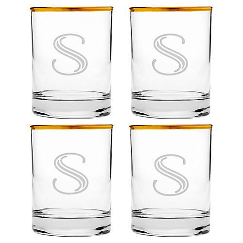 S/4 Hudson Monogram Deco Glasses