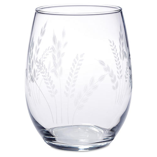 S/4 Fern Handcut Stemless Wine, 21 Oz