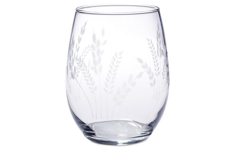 S/4 Fern Handcut Stemless Wine, 21 Oz