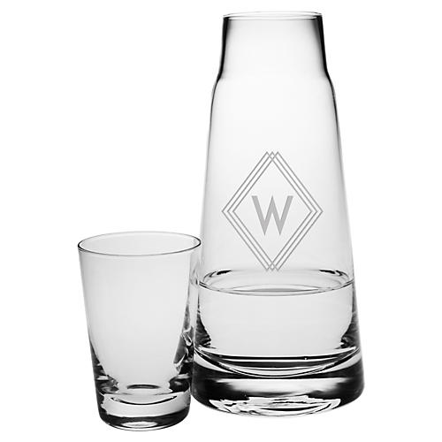 Asst. of 2 Deco Diamond Monogram Cone Bottle Set