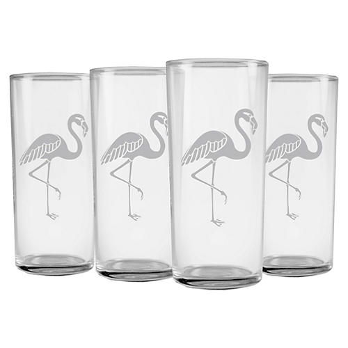 S/4 Flamingo Slim Highball Glasses