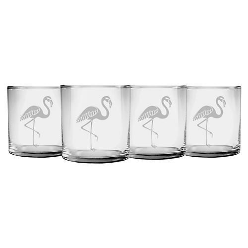 S/4 Flamingo Slim Rocks Glasses