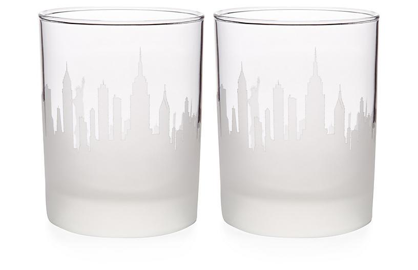 S/2 NYC Skyline DOF Glasses, Clear
