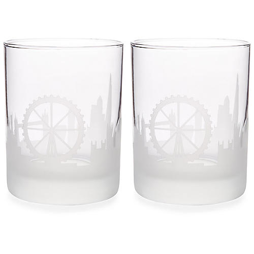 S/2 London Skyline DOF Glasses, Clear